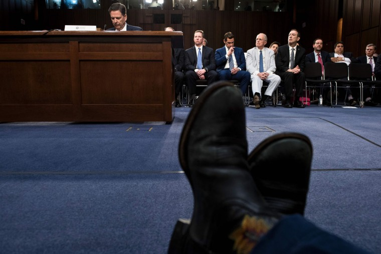 Ousted FBI director James Comey listens during a hearing before the Senate Select Committee on Intelligence on Capitol Hill June 8, 2017 in Washington, DC. / (AFP Photo/Brendan Smialowski)