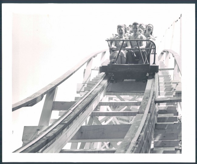 Roller coaster enthusiasts heading for the big dip at the Baltimore Transit Company outing at Bay Shore Park, August 1947. (Robert Mottar/Baltimore Sun)