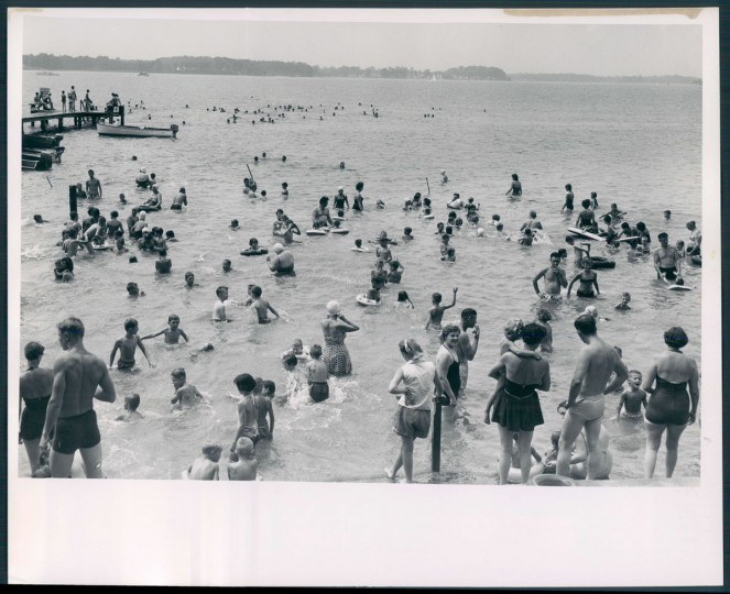 People swimming in the Chesapeake Bay during the Baltimore County Picnic, photo dated August 8, 1955. (Baltimore Sun archives)