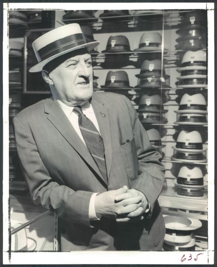 Ed Martin models a straw hat in May 1969. (Baltimore Sun archives)