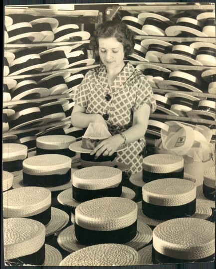Woman making hats in May 1936. (Baltimore Sun archives)