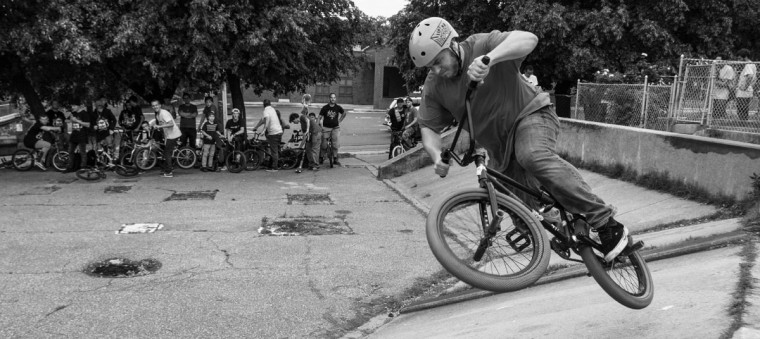 "Baltimore, MD -- 5/27/17 -- Ryan Horan from Baltimore illustrated a ""Fly-out"" in front of many riders. Second Annual Baltimore BMX Street Jam. Over 150 BMX bike riders gathered on 300 North Greene street, Baltimore. Together they spent the whole day riding through the streets of Baltimore and exploring places that were once hidden to many riders. (Paul Lai)"