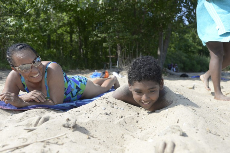 "For Catherine Walker of Highlandtown, here with her grandson, Isaiah Daugherty, 11, North Point means ""family bonding time."" (Christina Tkacik/Baltimore Sun)"