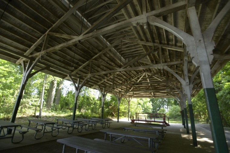 The old trolley pavilion at North Point State Park harkens back to the early 1900s, when passengers would arrive via streetcar from Baltimore to spend the day at what was then known as Bay Shore amusement park. (Christina Tkacik/Baltimore Sun)