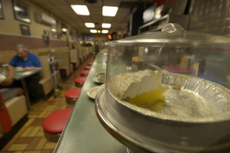 Blurry marks on the counter show where people's arms have rubbed against the laminate over the decades at G&A Restaurant on Eastern Avenue. The food and décor have changed little since the restaurant opened in 1927. (Christina Tkacik/Baltimore Sun)