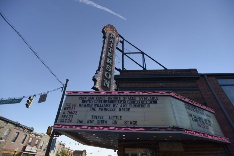"The marquee at Creative Alliance, formerly an old theater on Eastern Avenue. ""This was the cornerstone of revitalizing Highlandtown,"" said Heather Keating the organization's branding and communications manager. ""We try really hard to work with the community that's here."" Eight artists live and work in studios inside the building, and the organization offers free art and English classes to community members. (Christina Tkacik/Baltimore Sun)"