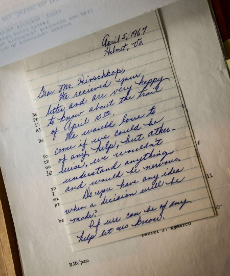 This is one of Mildred Loving's letters to Philip Hirschkop about the case. (Washington Post photo by Bill O'Leary)