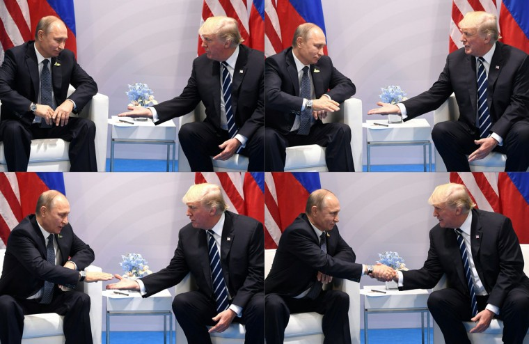 This combination of pictures created on July 7, 2017 shows US President Donald Trump (L) and Russia's President Vladimir Putin shaking hands during a meeting on the sidelines of the G20 Summit in Hamburg, Germany, on July 7, 2017. / (AFP Photo/Saul Loeb)