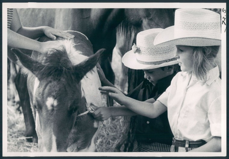 Vernon Pleasant auctions off a pony held by Harry Buntine. Photo dated July 26, 1974.
