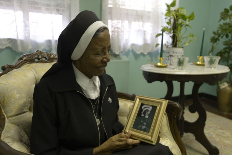 """Sister Magdala Marie Gilbert, who has been a nun for 68 years, says when she struggles, she tells herself, """"Hey, this is nothing compared to what [Mother Lange] went through."""" (Christina Tkacik/Baltimore Sun)"""