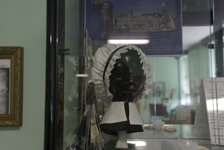A display case at the OSP convent shows the style of habit that Mother Lange and the early sisters wore in the 1800s. (Christina Tkacik/Baltimore Sun)