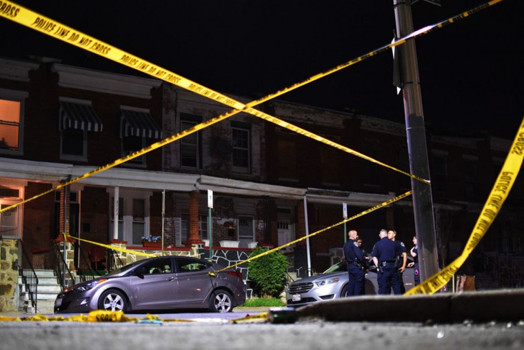 """""""Police tape frames a police investigation into an April 2017 shooting in the 2700 block of Ashland Avenue."""" (Photo and caption courtesy of Maggie Ybarra)"""