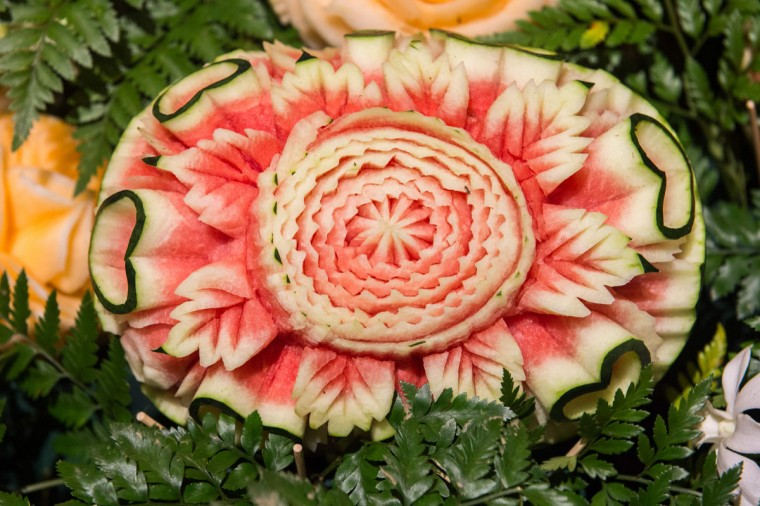 A carved watermelon is displayed during a fruit and vegetable carving competition in Bangkok on August 4, 2017. It is a royal tradition that has proved bountiful through the ages and one that Thailand's fruit carvers are determined to keep alive -- even as young people peel away from the unique art form. (ROBERTO SCHMIDT/AFP/Getty Images)
