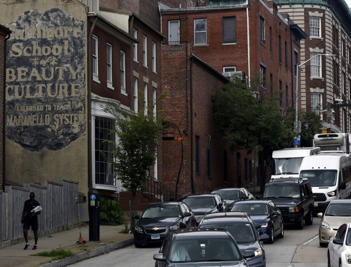 An old Baltimore School of Beauty Culture sign on E Mulberry St. (Kim Hairston/Baltimore Sun)