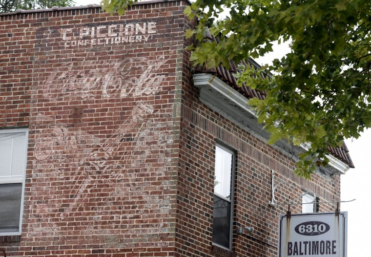 Ghost sign of C. Piccione Confectionery and Coca Cola on Harford Road. (Kim Hairston/Baltimore Sun)