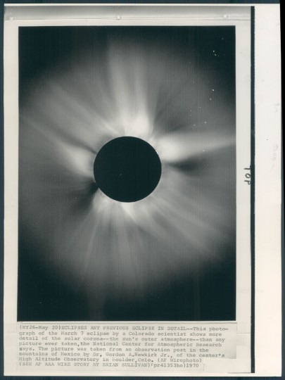 "The caption to this 1970 AP wire photo said ""Eclipses any previous eclipse in detail."" The photo showed more detail of the solar corona than any previously taken. (Baltimore Sun archives)"