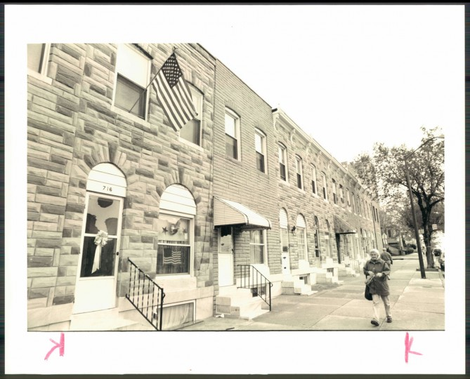 Photo of city block clad in formstone, photo dated 1991. (Baltimore Sun archives)