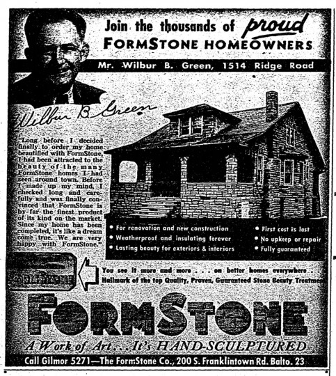 """A 1950 ad for FormStone that ran in The Baltimore Sun urged residents to """"join the thousands of proud FormStone homeowners."""" Such ad campaigns were apparently quote successful -- the plethora of formstone clad houses in the city can attest to that. (Baltimore Sun archives)"""