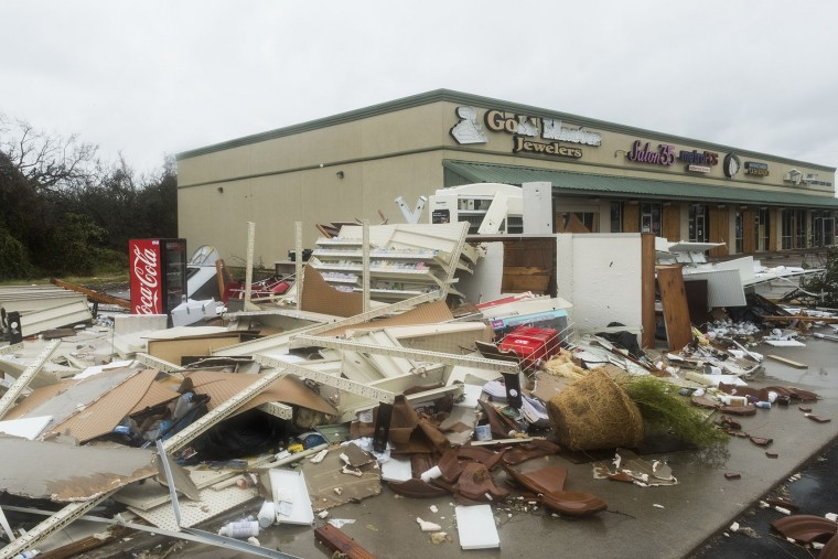 Debris sits in a shopping center after Hurricane Harvey hit Rockport, Texas, on Aug. 26, 2017. (Alex Scott/Bloomberg)