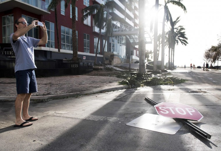 A stop signs sits in the street following Hurricane Irma in downtown Miami, Florida, September 11, 2017. (Saul Loeb/AFP/Getty Images)
