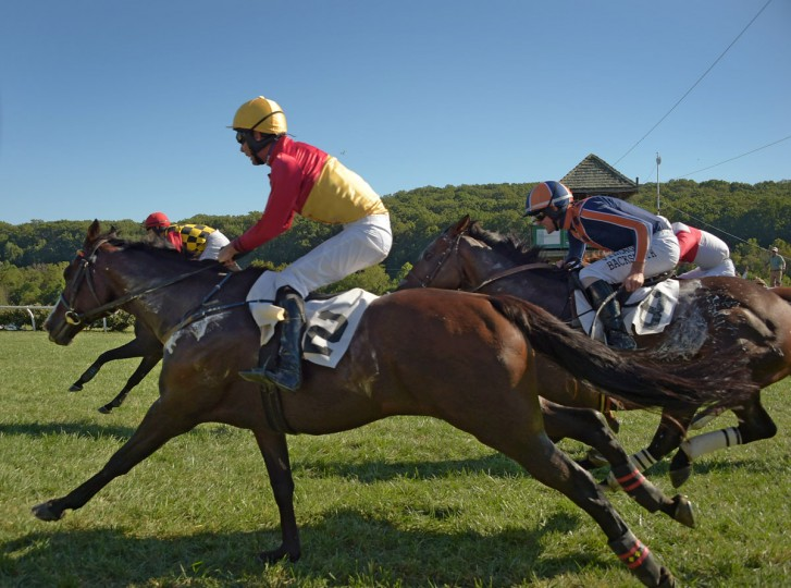 Rodriguez, ridden by jockey Darren Angle (back left) has victory in hand as Cornhusker (2), ridden by Mark Beecher, and Worried Man, ridden by Kieran Norris (8) cross the finish line in the Brown Advisory Legacy Chase, during the 2017 Legacy Chase at Shawan Downs. (Karl Merton Ferron / Baltimore Sun Staff)