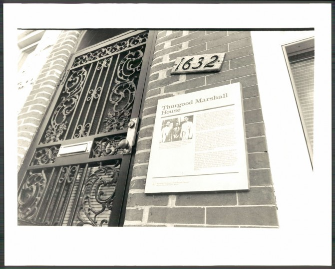 1991 photo of Thurgood Marshall's childhood home on Division Street in West Baltimore. Marshall died January 24, 1993. (Baltimore Sun archives)