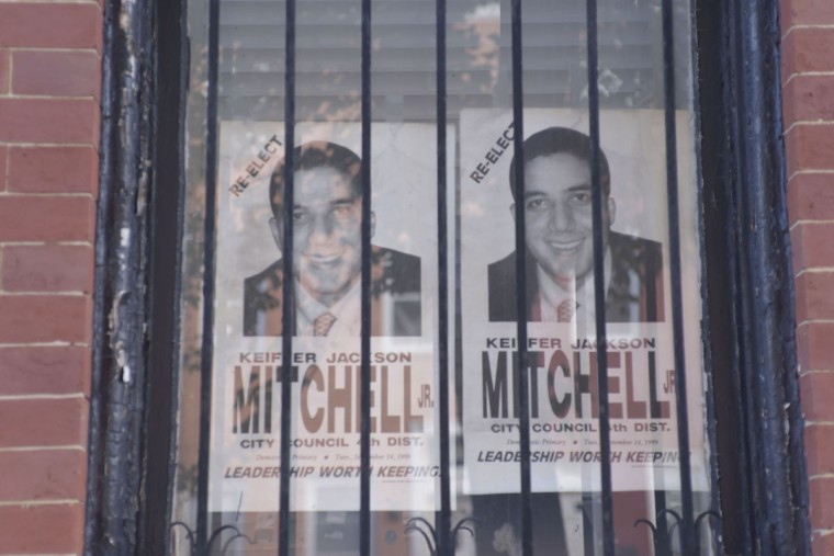 Mitchell campaign posters from the 1990s serve as a reminder of the Mitchell family's political prominence. (Christina Tkacik/Baltimore Sun)