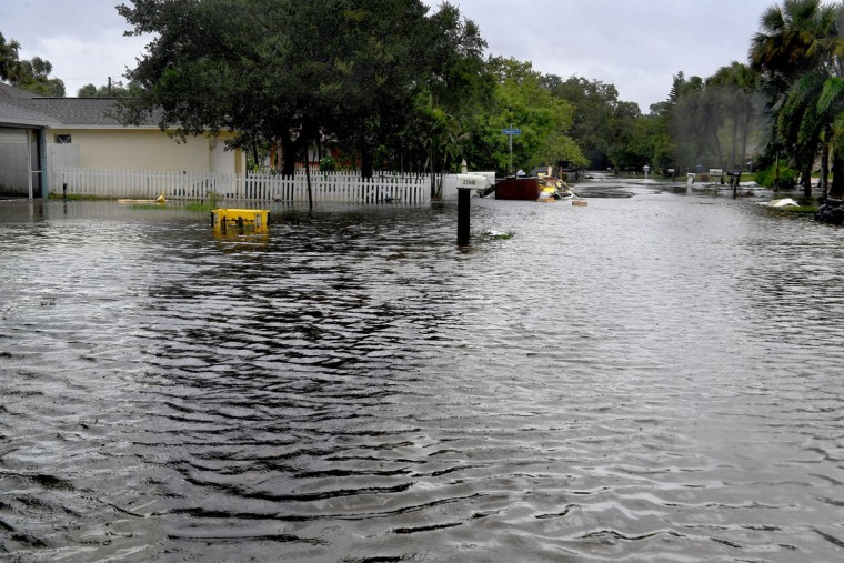 Many streets in the Bonita Springs, Florida, area were flooded by mid-morning on Sunday. (Washington Post photo by Michael S. Williamson)