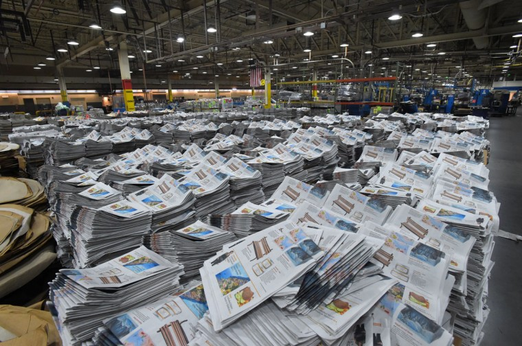 The facility uses 26,000 gallons of black ink per year to print the paper. Enough to fill one Olympic-size swimming pool. (Lloyd Fox/Baltimore Sun)