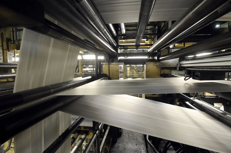 The Baltimore Sun Media Group's Sun Park printing press in operation opened in 1992. The presses can print 40-60,000 copies per hour. (Lloyd Fox/Baltimore Sun)