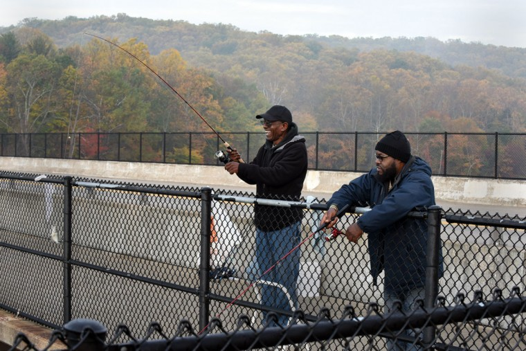 Rick Jones, left, and Don McCray, right, both of Baltimore, enjoy a morning fishing at Loch Raven Reservoir. (Barbara Haddock Taylor/Baltimore Sun)