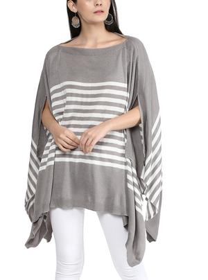 Stripe ruana in tencel