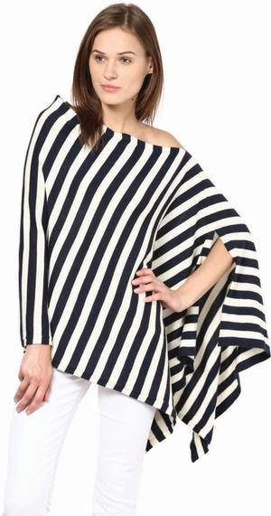 Modern stripe poncho