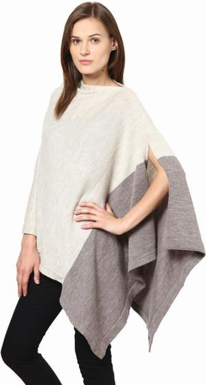 Merino wool color block poncho