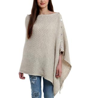 Honeycomb knit poncho with buttons