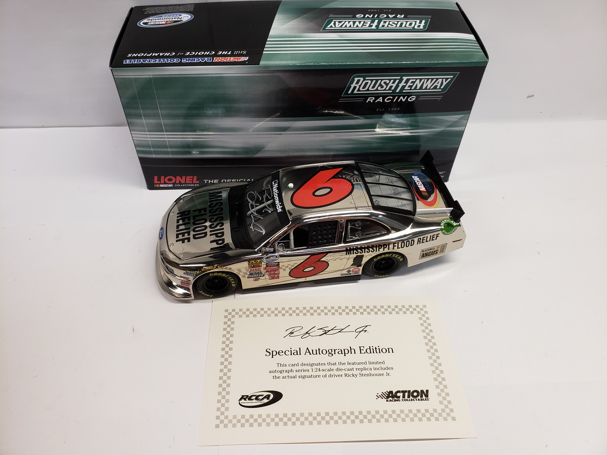 2011 Ricky Stenhouse Jr. Mississippi Flood Relief Autographed  Nickel ARC              NW HO ARC