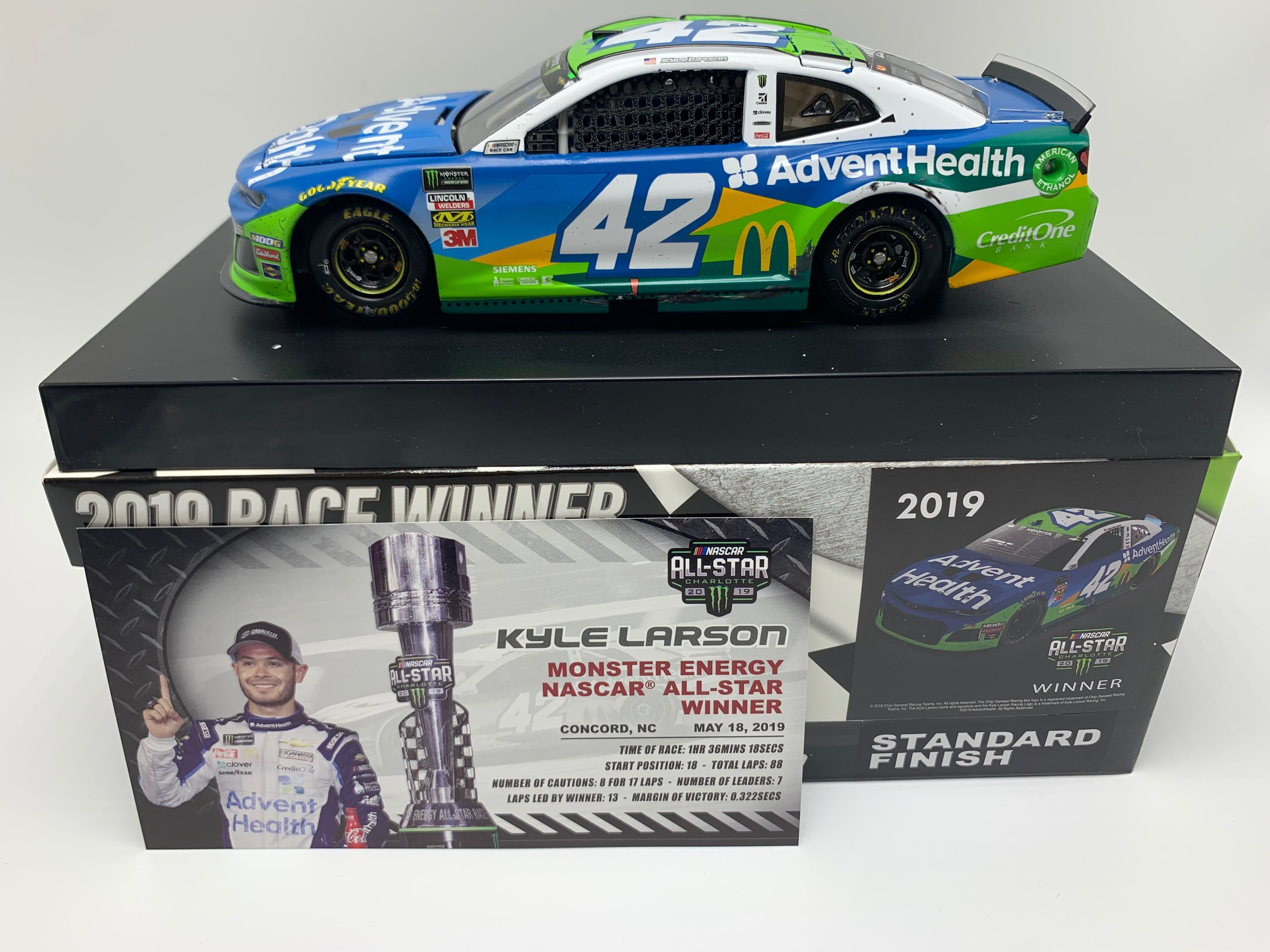 KYLE LARSON 2019 ADVENT HEALTH ALL-STAR RACED WIN 1:24 ARC DIECAST - DIN #1 !