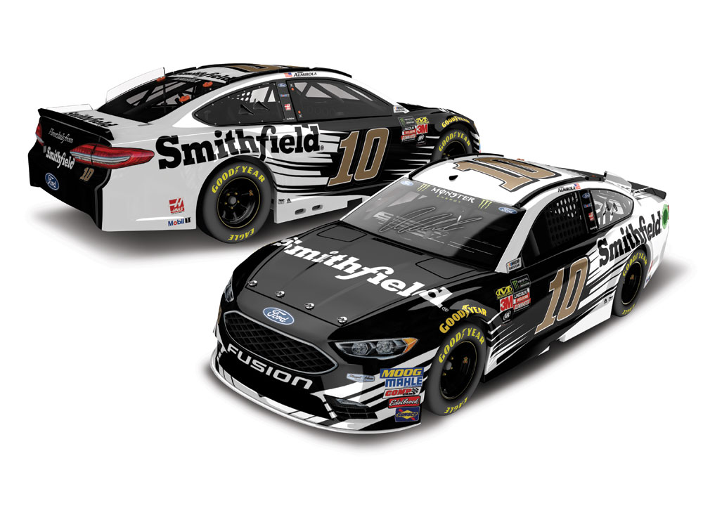 ARIC ALMIROLA 2018 #10 SMITHFIELD 1/24 ELITE AUTOGRAPHED DIECAST - (AUTO BY ARIC AND TONY STEWART)
