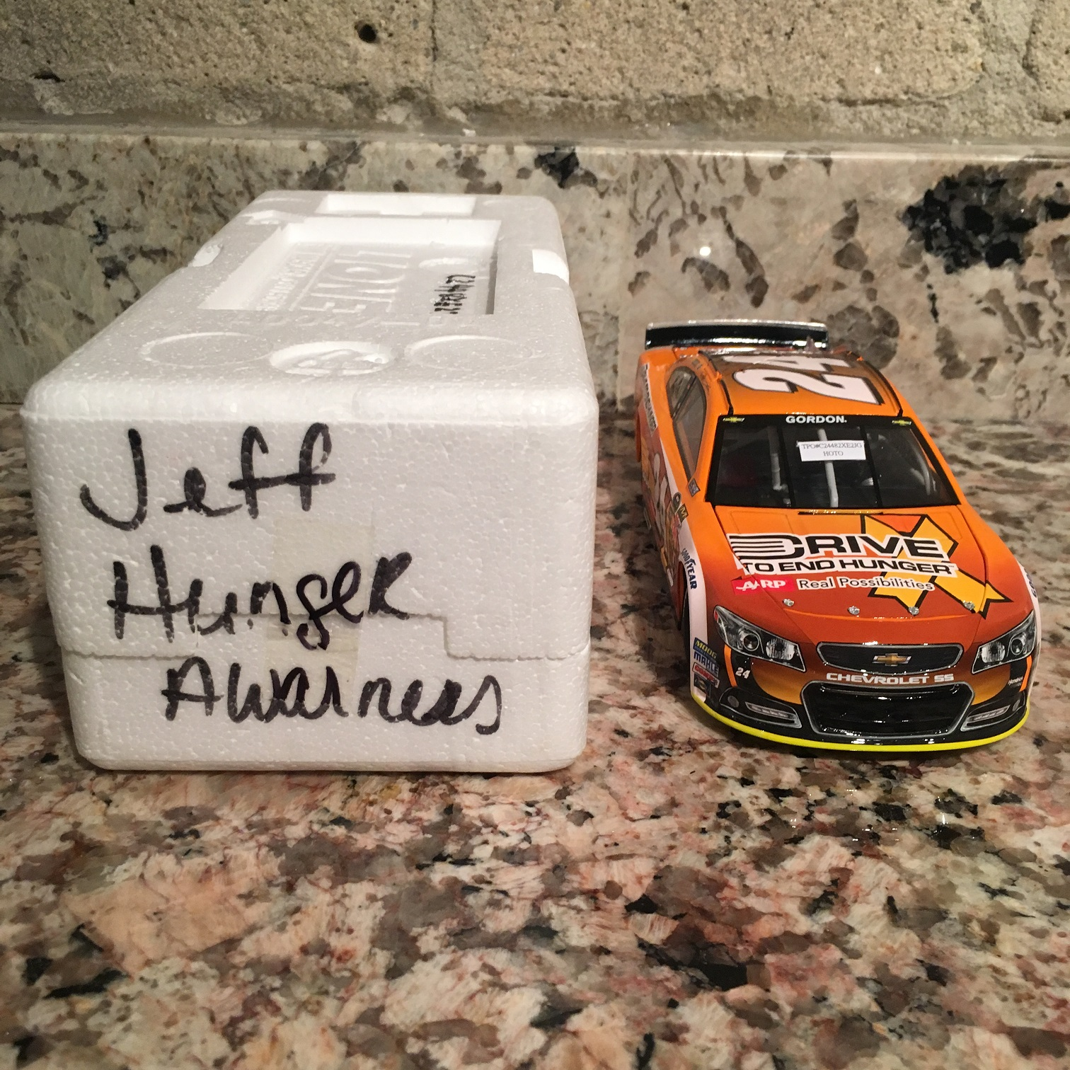 Jeff Gordon Pre-Pro 2014 Drive to End Hunger, Hunger Awareness Month Chevy SS 1:24 Die Cast Car