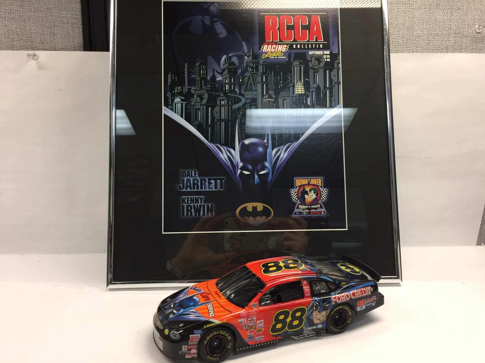 DALE JARRETT 1998 BATMAN FRAMED ART AND DIECAST