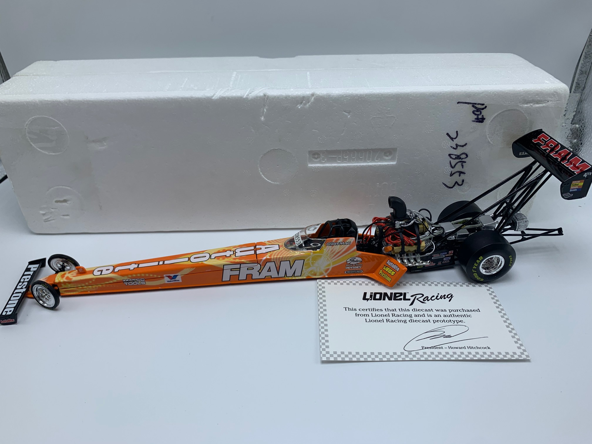 CORY MAC FRAM 1:24 NHRA DRAGSTER PROTOTYPE DIECAST!