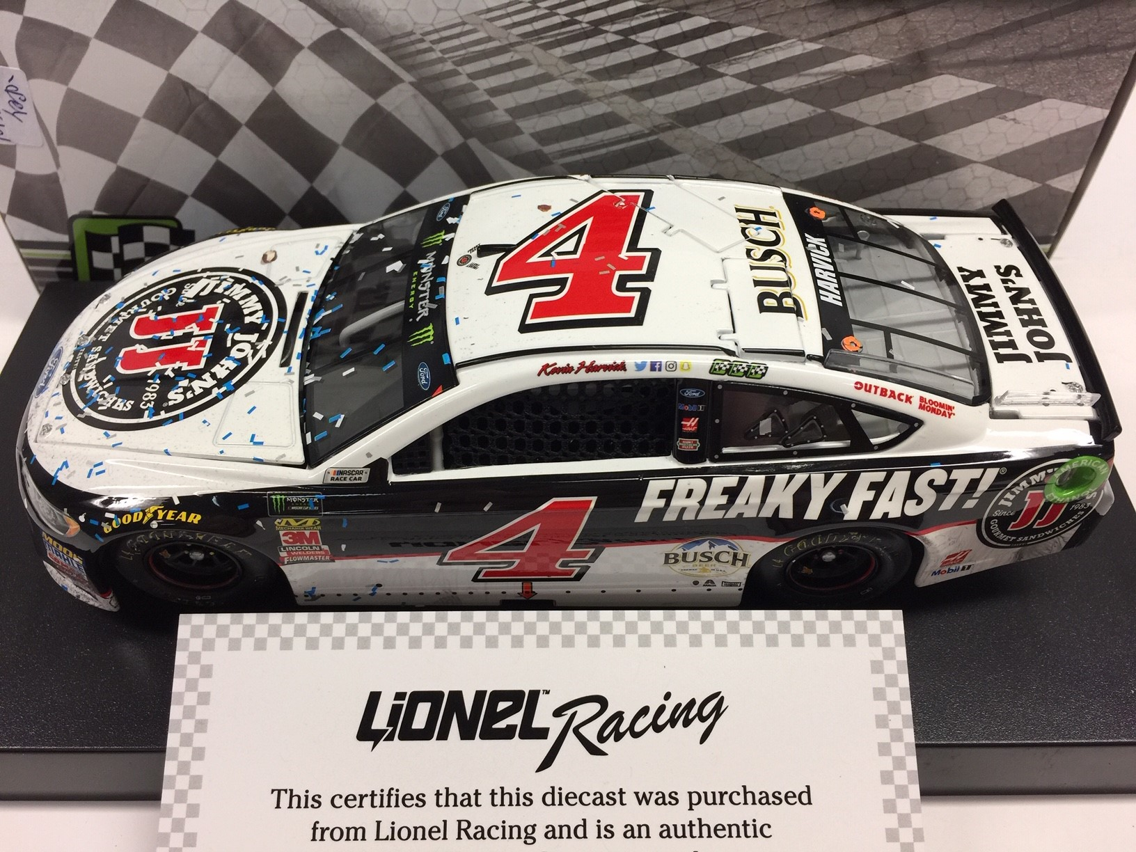 KEVIN HARVICK 2018 JIMMY JOHN'S ISM RACED WIN DIECAST SAMPLE