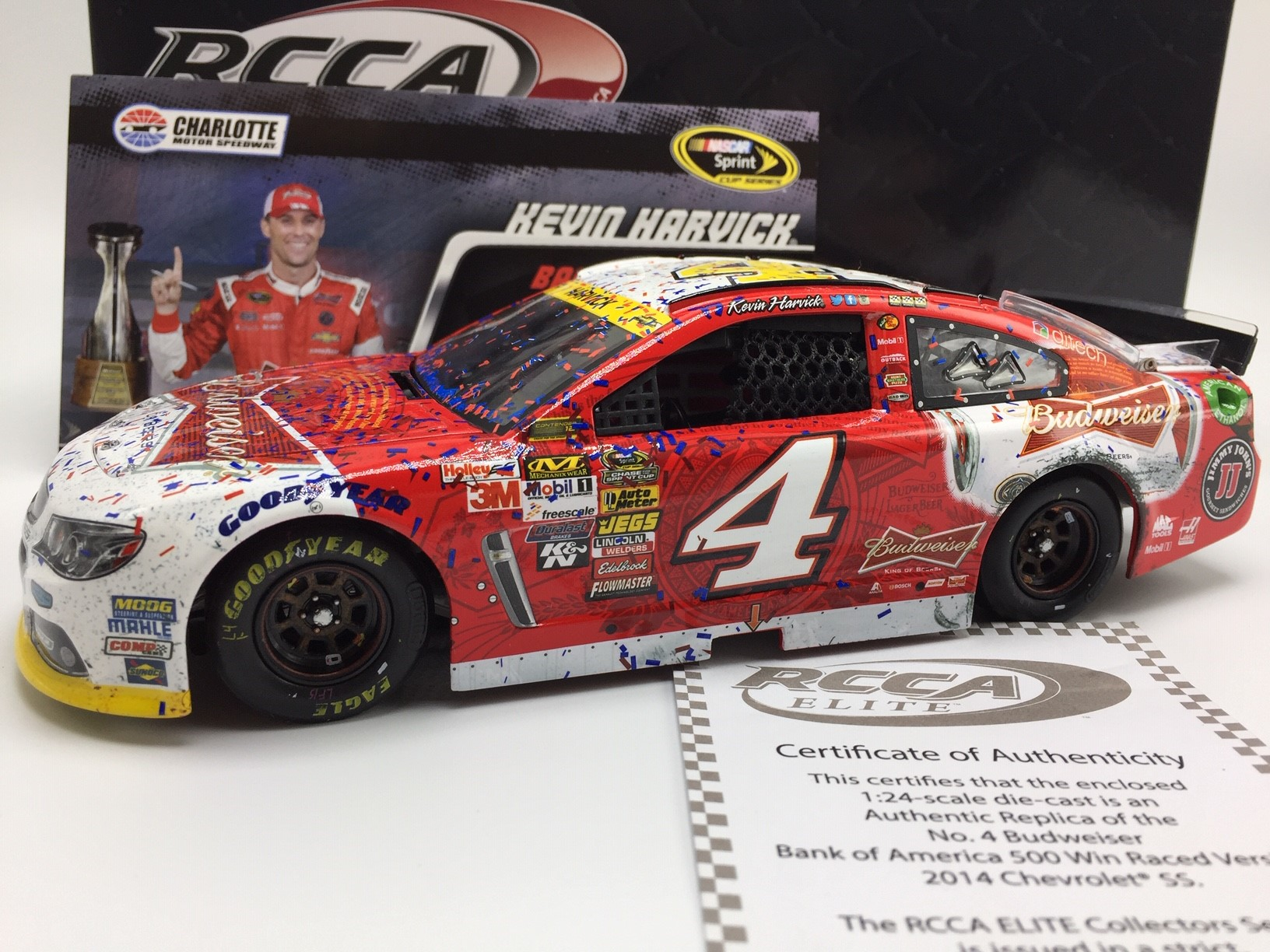 KEVIN HARVICK 2014 BUDWEISER CHARLOTTE RACED WIN 1:24 DIECAST