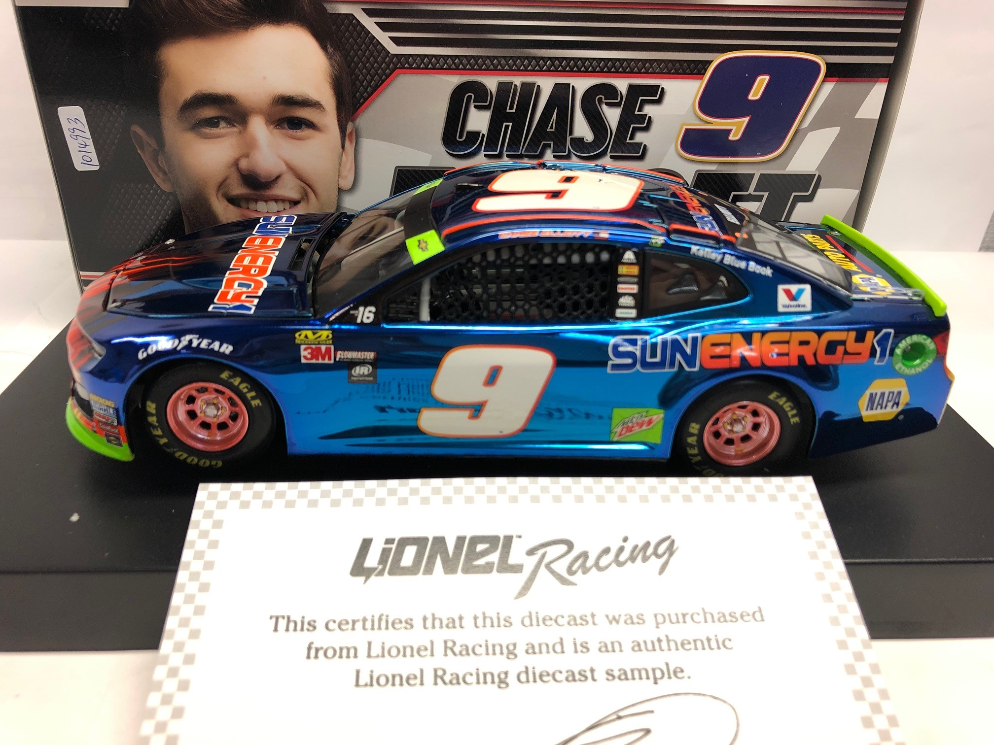CHASE ELLIOTT 2018 SUNENERGY1 BLUE 1:24 ARC COLOR CHROME SAMPLE DIECAST