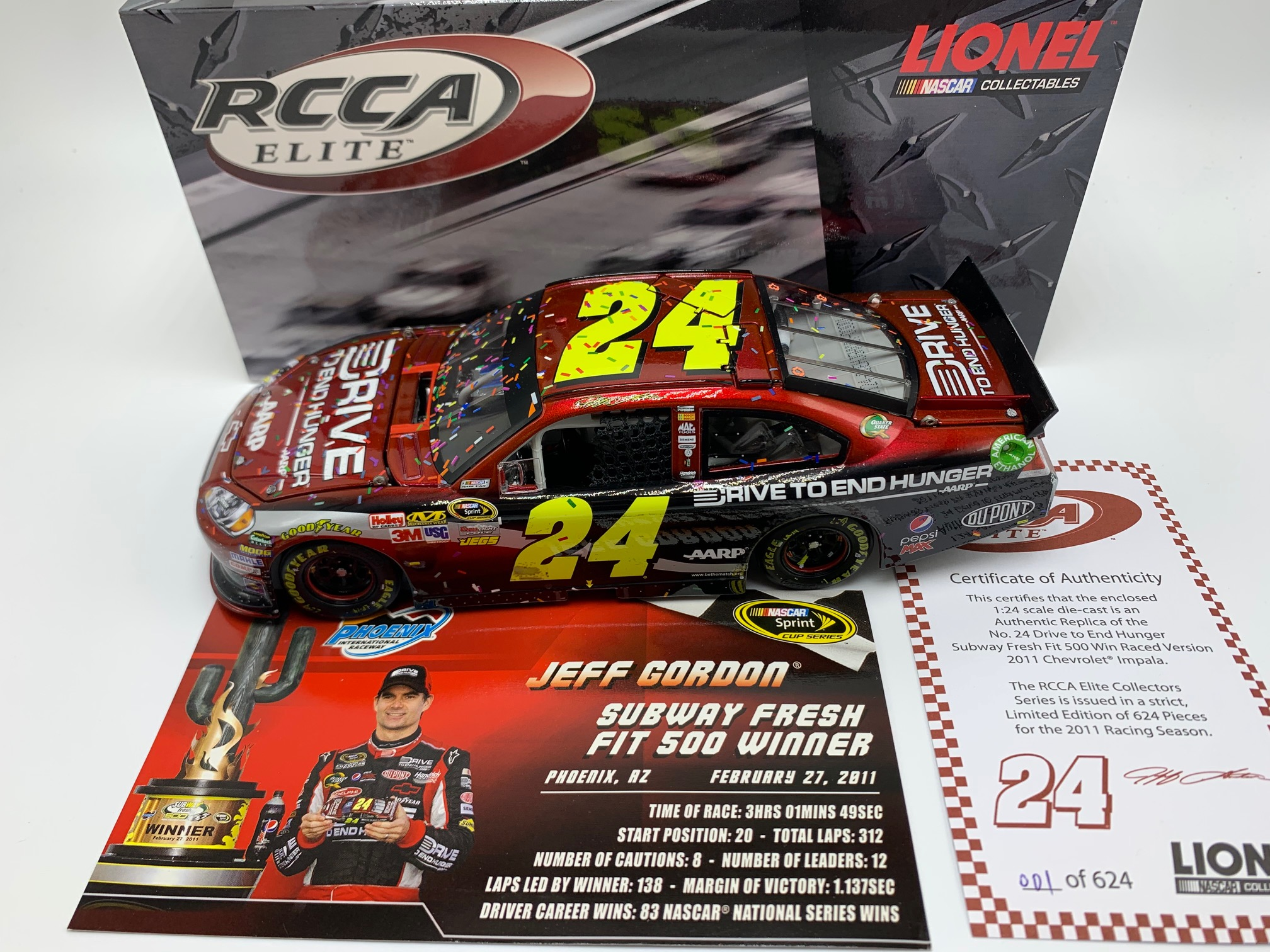 Jeff Gordon 2011 AARP Drive to End Hunger Phoenix Raced Win 1:24 ELITE DIN #1