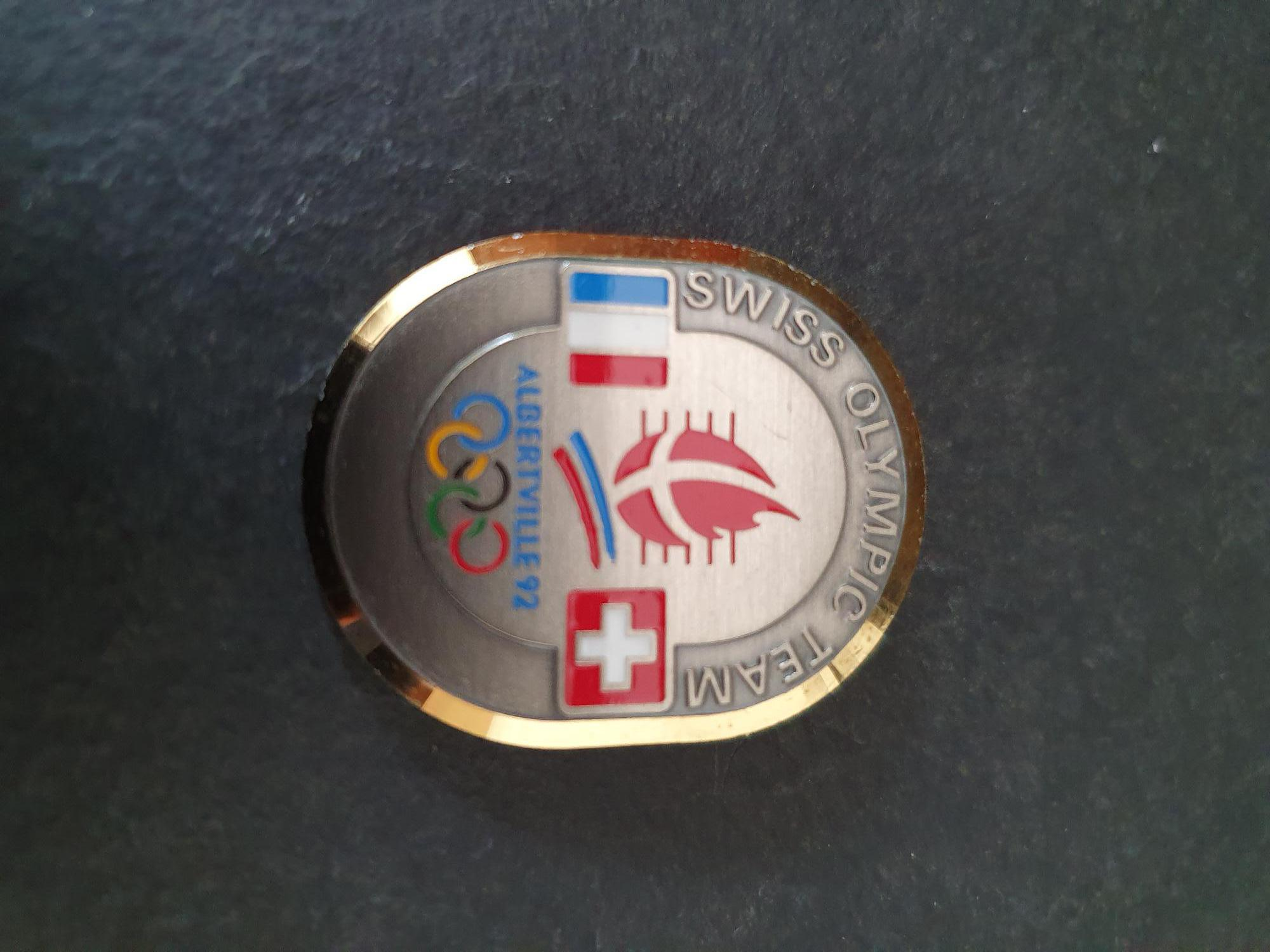 Albertville 1992 Swiss Olympic Team With Flags France And Switzerland