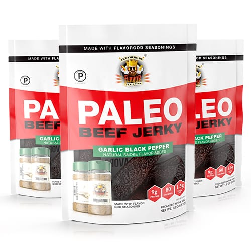 Flavor God Paleo Jerky - Garlic Black Pepper - 3 Pack