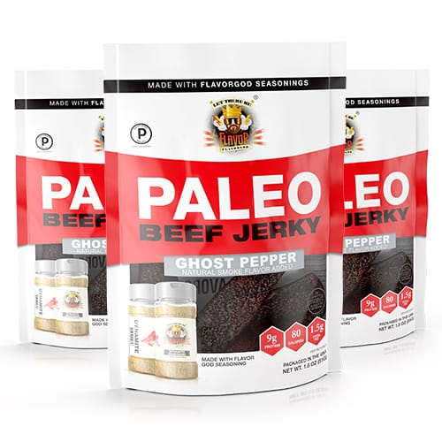 Flavor God Paleo Jerky - Ghost Pepper Dynamite - 3 Pack
