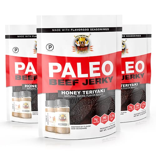 Flavor God Paleo Jerky - Honey Teriyaki - 3 Pack
