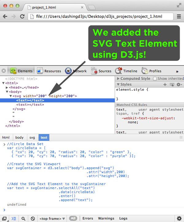 Added Svg Text Element Using D3 Js